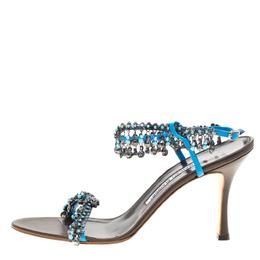 Manolo Blahnik Blue Leather Crystal And Trinket Embellished Open Toe Sandals Size 39.5