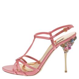 Miu Miu Baby Pink Satin Crystal Embellished Heel T Strap Sandals Size 39.5