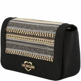 Love Moschino Black Faux Leather Embellished WOC Clutch Bag