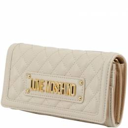 Love Moschino White Quilted Faux Leather WOC Clutch Bag