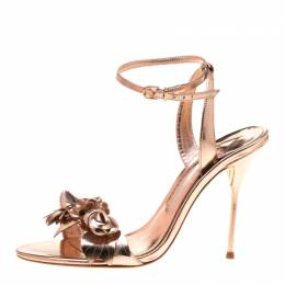 Sophia Webster Metallic Rose Gold Leather Lilico Floral Embellished Ankle Wrap Sandals Size 39.5 184197