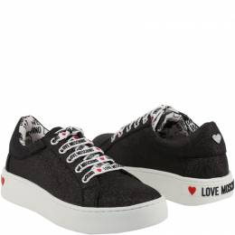 Love Moschino Black Fabric Platform Sneakers Size 35
