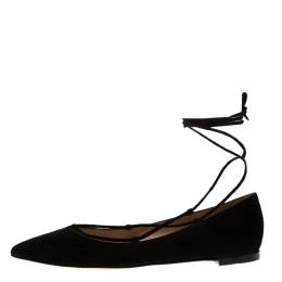 Gianvito Rossi Black Suede Femi Ankle Wrap Pointed Toe Flats Size 38.5 183841