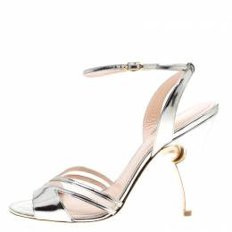 Nicholas Kirkwood Metallic Silver Leather And Mesh Penelope Faux Pearl Embellished Heel Ankle Strap Sandals Size 41 183772