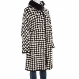 Ermanno Scervino Monochrome Houndstooth Pattern Knit Fox Fur Collar Coat L 184604