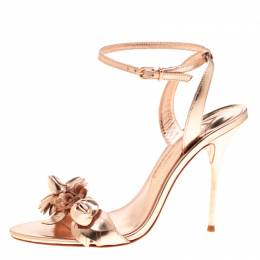 Sophia Webster Metallic Rose Gold Leather Lilico Floral Embellished Ankle Wrap Sandals Size 40 183862