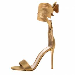 Gianvito Rossi Gold Satin Gala Ankle Wrap Open Toe Sandals Size 39 183880