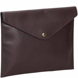 Louis Vuitton Dark Brown Taiga Leather Document Case Clutch Bag