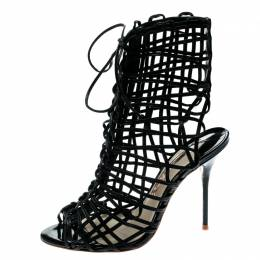 Sophia Webster Black Leather Delphine Peep Toe Cage Sandals Size 39.5 186896