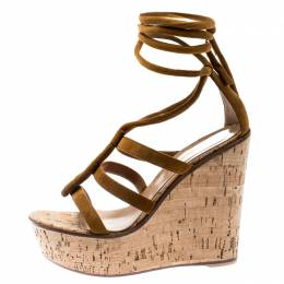 Gianvito Rossi Brown Suede Cork Wedge Ankle Wrap Open Toe Sandals Size 38 185505