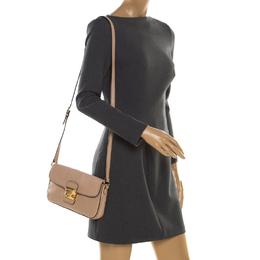 Miu Miu Beige Leather Flap Crossbody Bag