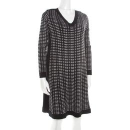 M Missoni Monochrome Textured Jacquard Knit Long Sleeve V Neck Sweater Dress S