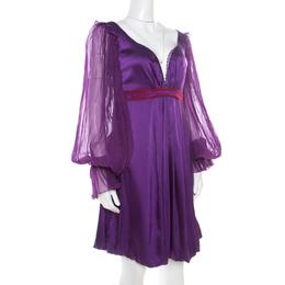 Roberto Cavalli Class Purple Satin Embroidered Waist Detail Plunge Neck Dress M 186464