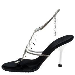 Giuseppe Zanotti Design Black Satin Crystal Encrusted Fish Bone Embellished Sandals Size 36