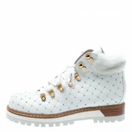 Le Silla St.Moritz White Quilted Leather Fur Lined Trekking Boots Size 41 193721