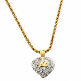 Valentino Crystal Embedded Heart Pendant Necklace and Earrings Set 193928