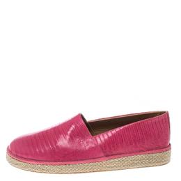 Salvatore Ferragamo Pink Lizard Leather Lampedusa Espadrilles Size 43