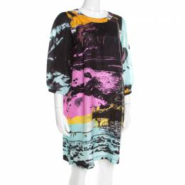 See By Chloe Multicolor Abstract Printed Silk Long Sleeve Shift Dress M 195561
