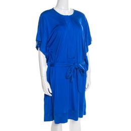 Diane Von Furstenberg Cobalt Blue Silk Jersey Belted Tuvallu Kaftan Dress M 195564