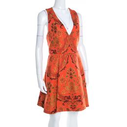 Alice + Olivia Orange Brocade Racer Back Fit and Flare Mollie Dress M