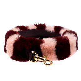Dolce&Gabbana Red/Pink Rabbit Fur and Leather Bag Strap 197196