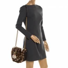Dolce&Gabbana Beige/Black Leopard Print Fur and Croc Embossed Leather DG Millennials Shoulder Bag 197024