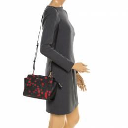 MICHAEL Michael Kors Black/Red Rose Printed Signature Leather Medium Selma Crossbody Bag 197216