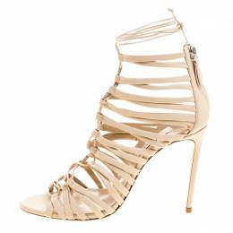 Casadei Beige Leather Strappy Tie Up Sandals Size 39