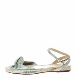 Charlotte Olympia Metallic Silver Glitter Fabric Marina Knot Ankle Strap Flat Sandals Size 38.5 172398