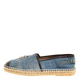Philipp Plein Blue/Black Denim and Leather New York Espadrilles Size 40