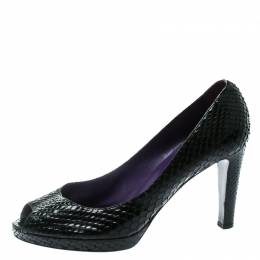Sergio Rossi Black Python Leather Peep Toe Pumps Size 41 178027
