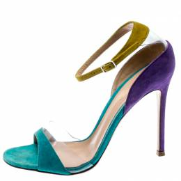 Gianvito Rossi Tricolor Suede And PVC Natalie Ankle Strap Sandals Size 36.5 187184