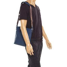 MCM Blue Leather Ottamar Messenger Bag