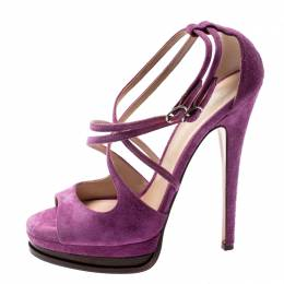 Casadei Purple Suede Cross Strap Platform Sandals Size 37.5