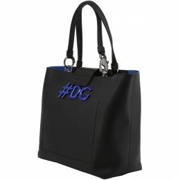 Dolce&Gabbana Black/Blue Leather DG Girls Shopping Tote 199266