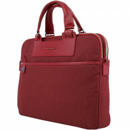 Piquadro Red Fabric and Leather Briefcase 167798