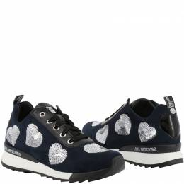Love Moschino Tricolor Faux Leather and Fabric Lace Up Sneakers Size 35 199499