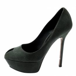Sergio Rossi Green Textured Suede Leather Cut Out Platform Pumps Size 35