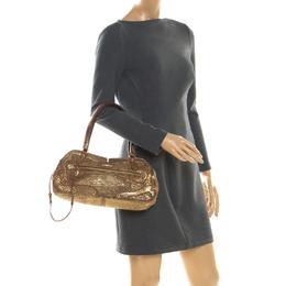 Miu Miu Gold Metallic Distressed Leather Shoulder Bag
