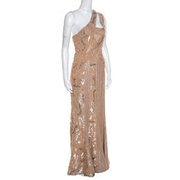 Elie Saab Beige Embellished Petal Detail Sleeveless Gown S 151570