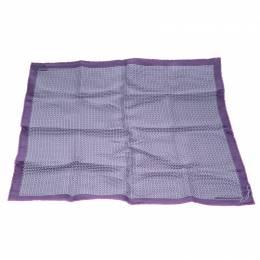 Hermes Purple Cursive H Pattern Printed Silk Pocket Square 145954