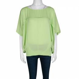 Diane Von Furstenberg Acid Green Silk Oversized Landy Blouse S 137378
