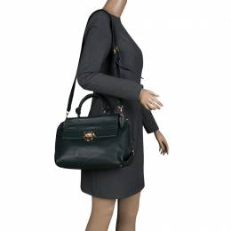 Salvatore Ferragamo Dark Green Leather Medium Sofia Satchel 134370