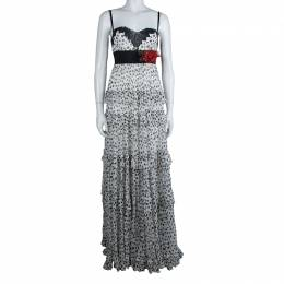Elie Saab White Lace Detail Polka Dotted Tiered Sleeveless Gown M 129542