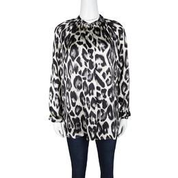Lanvin Multicolor Leopard Print Long Sleeve Silk Blouse S 118362