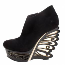 Le Silla Black Suede Butterfly Wedge Booties Size 40 112034