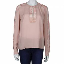 Elie Saab Blush Pink Lace Detail Long Sleeve Silk Blouse M 60464