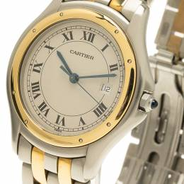 Cartier Ivory 18K Yellow Gold and Stainless Steel Panthere Women's Wristwatch 33MM 52517