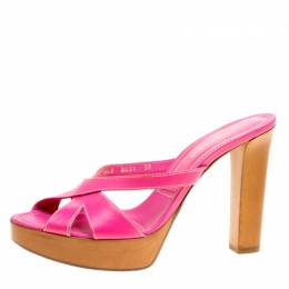 Sergio Rossi Pink Leather Peep Toe Platform Slides Size 38 159914