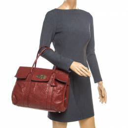 Mulberry Mahogany Textured Leather Bayswater Satchel 176422